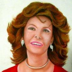 Arte: RETRATO AL PASTEL DE SOFIA LOREN. Lote 48217150