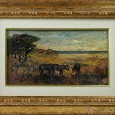Arte: B2-066. PAISAJE CON CABALLOS. OLEO SOBRE TABLA. GIOVANNI BARTOLENA (1886-1942).. Lote 48223029