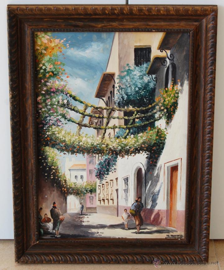 CALLEJÓN DEL AGUA: SEVILLA ( FIRMADO: M. MORENO - SEVILLA ) (Arte - Pintura - Pintura al Óleo Contemporánea )