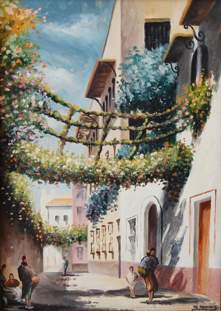 Arte: CALLEJÓN DEL AGUA: SEVILLA ( firmado: M. Moreno - Sevilla ) - Foto 2 - 27955795