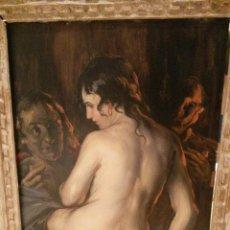 Arte: 1929 CUADRO EN OLEO PINTADO POR DANIEL SABATER SALABERT EN PARIS TITULADO ¿QUIEN TE VA A QUERER MAS?. Lote 48308802