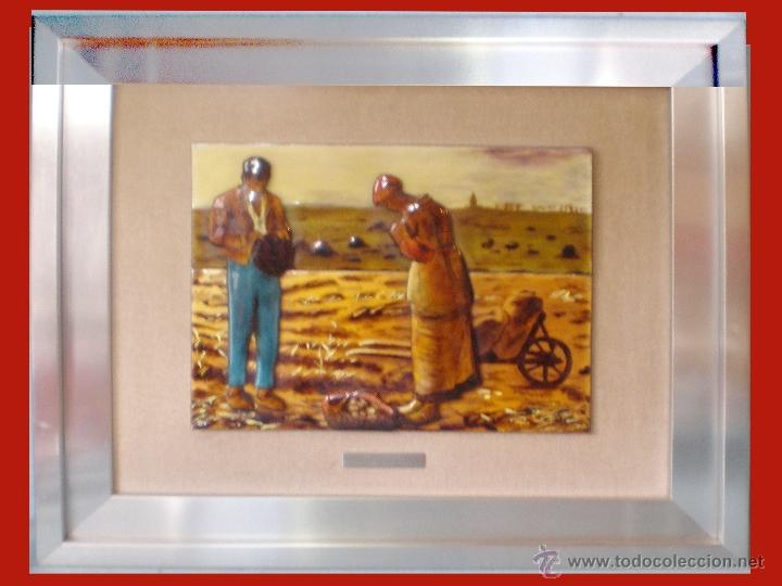 ESMALTE VIDRIADO AL FUEGO EN 4 PIEZAS D.-EL ANGELUS- DE JEAN FRANCOIS MILLET OBRA CUMBRE 29 X 23 CM (Arte - Pintura - Pintura al Óleo Moderna siglo XIX)