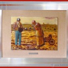 Arte: ESMALTE VIDRIADO AL FUEGO EN 4 PIEZAS D.-EL ANGELUS- DE JEAN FRANCOIS MILLET OBRA CUMBRE 29 X 23 CM. Lote 48327240