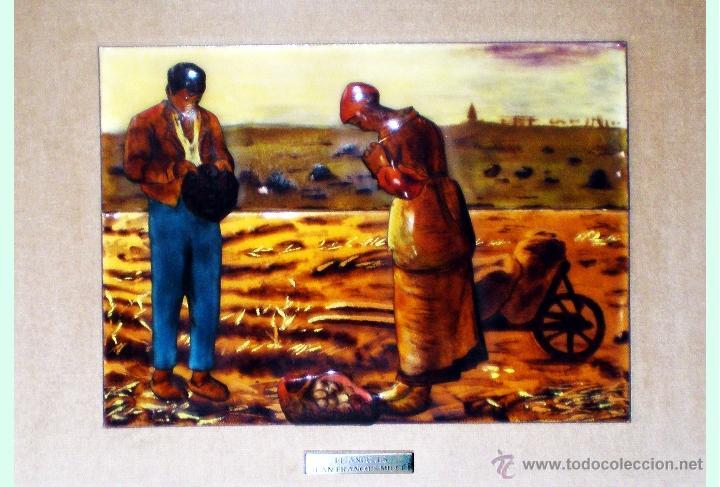 Arte: ESMALTE VIDRIADO AL FUEGO EN 4 PIEZAS D.-EL ANGELUS- de JEAN FRANCOIS MILLET OBRA CUMBRE 29 x 23 cm - Foto 2 - 48327240