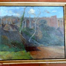 Arte: ISIDRE ODENA.ÓLEO SOBRE TELA, PEGADO A TÁBLEX.PARQUE VALLPARADIS.PUENTE DE LA MUTUA, TERRASSA.. Lote 48359076