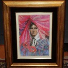 Arte: JOAN MARTI ARAGONES (BARCELONA, 1936 - 2009) DIBUJO A PASTEL. DAMA CON MASCARA. Lote 48406141