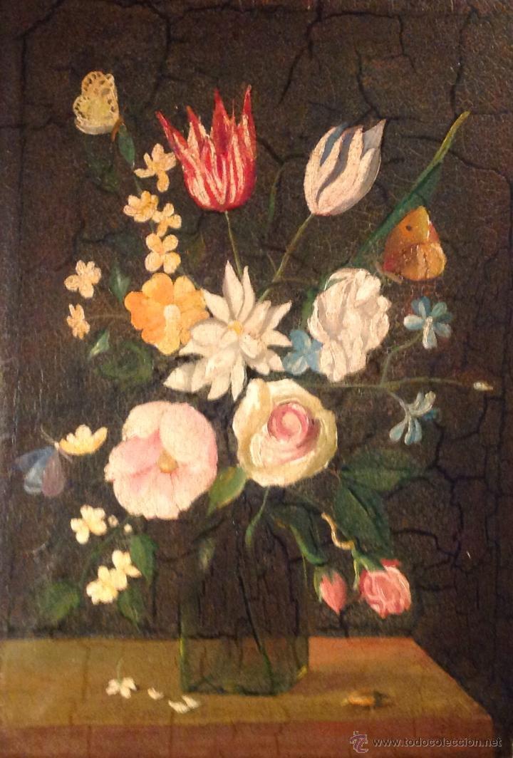 ANTIGÜO ÓLEO SOBRE LIENZO FINALES SIGLO XIX BODEGÓN DE FLORES (Arte - Pintura - Pintura al Óleo Moderna siglo XIX)
