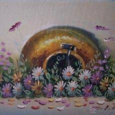 Arte: ÓLEO DE JARRO CON FLORES. Lote 48528210