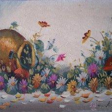Arte: ÓLEO DE JARRO CON FLORES. Lote 48528253