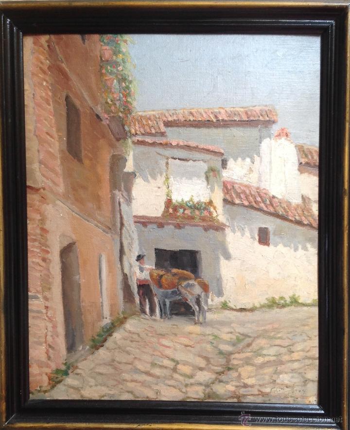 Arte: ANTIGÜO ÓLEO SOBRE CARTÓN FIRMADO F . KONLER Y FECHADO 1.944 - Foto 2 - 48583082