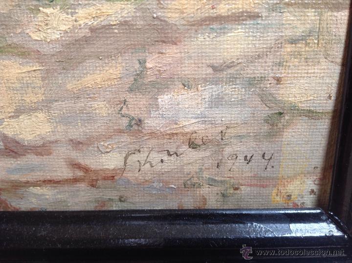 Arte: ANTIGÜO ÓLEO SOBRE CARTÓN FIRMADO F . KONLER Y FECHADO 1.944 - Foto 3 - 48583082