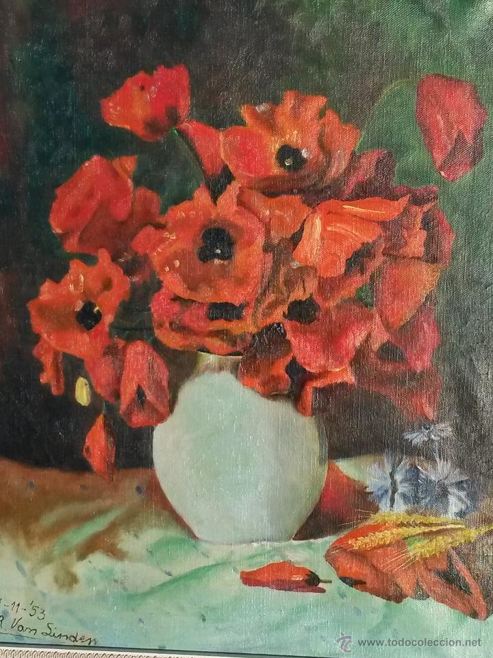 Arte: Pintura al oleo sobre tela de 46 x 38 cms firma se puede ver europea 1953 ,sin marco - Foto 2 - 48590135