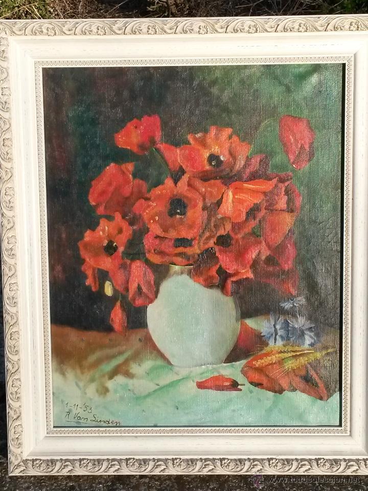 Arte: Pintura al oleo sobre tela de 46 x 38 cms firma se puede ver europea 1953 ,sin marco - Foto 3 - 48590135