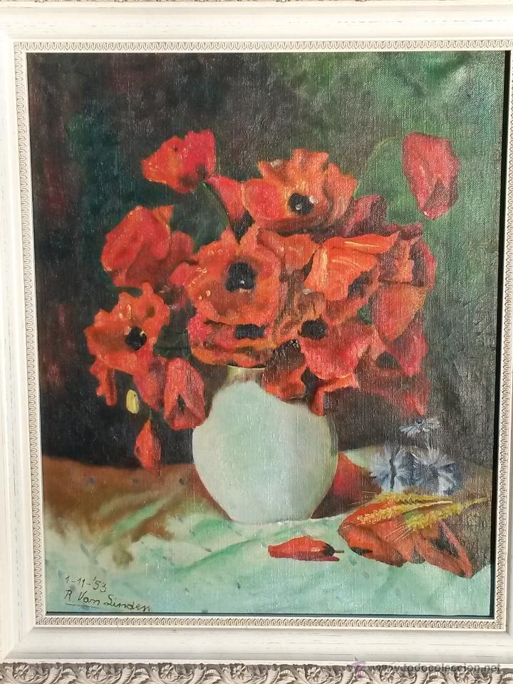 Arte: Pintura al oleo sobre tela de 46 x 38 cms firma se puede ver europea 1953 ,sin marco - Foto 4 - 48590135