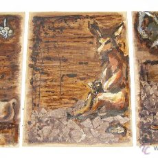 Arte: 120X56CM !!! PINTURA OBRA CUADRO IRENE LLOPIS MARTINEZ VALENCIA GRABADOS DE GOYA PESADILLAS TRIPTICO. Lote 48601528