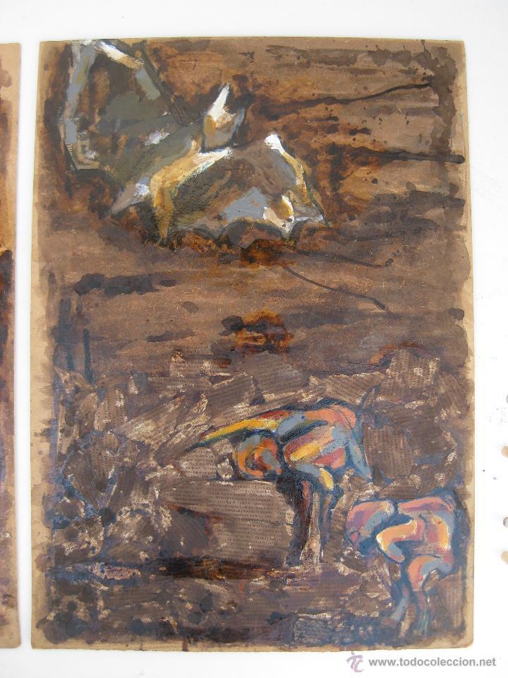 Arte: 120X56CM !!! PINTURA OBRA CUADRO IRENE LLOPIS MARTINEZ VALENCIA GRABADOS DE GOYA PESADILLAS TRIPTICO - Foto 2 - 48601528