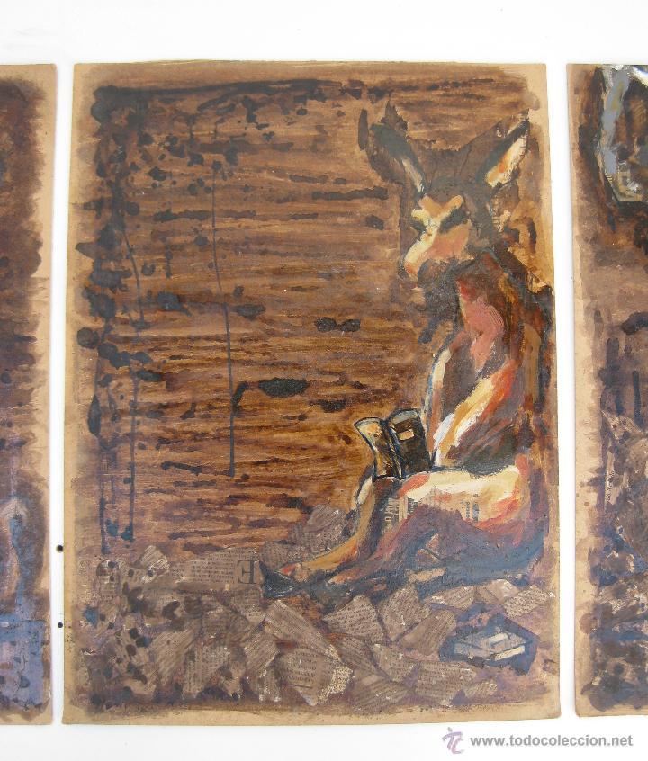 Arte: 120X56CM !!! PINTURA OBRA CUADRO IRENE LLOPIS MARTINEZ VALENCIA GRABADOS DE GOYA PESADILLAS TRIPTICO - Foto 3 - 48601528