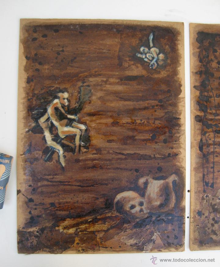 Arte: 120X56CM !!! PINTURA OBRA CUADRO IRENE LLOPIS MARTINEZ VALENCIA GRABADOS DE GOYA PESADILLAS TRIPTICO - Foto 4 - 48601528