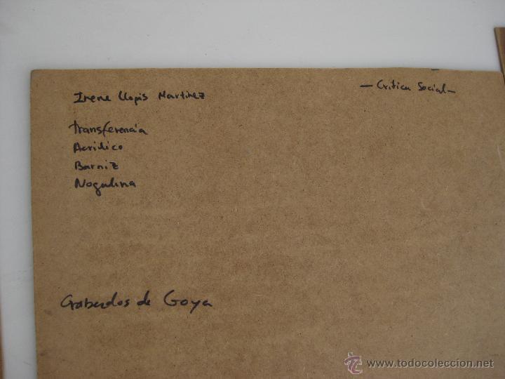 Arte: 120X56CM !!! PINTURA OBRA CUADRO IRENE LLOPIS MARTINEZ VALENCIA GRABADOS DE GOYA PESADILLAS TRIPTICO - Foto 5 - 48601528
