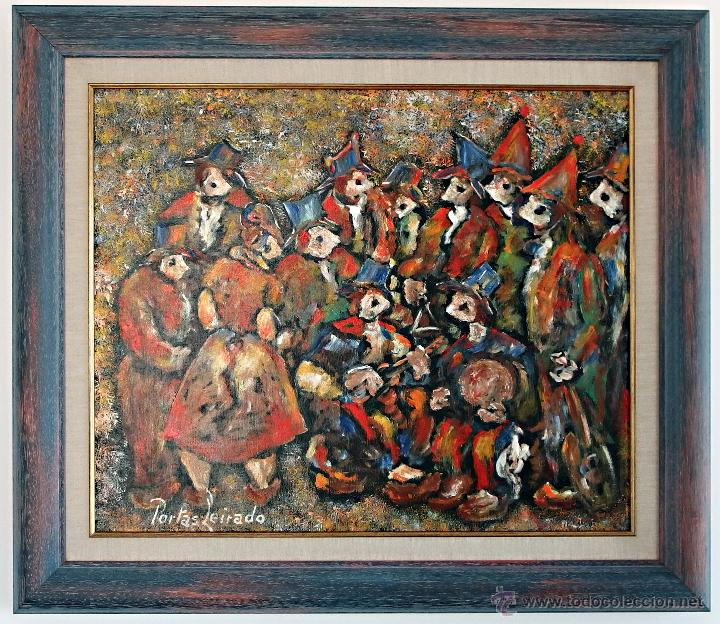Arte: Constantino Portas Leirado: óleo sobre lienzo 'La fiesta del pavo' - Foto 2 - 46537352