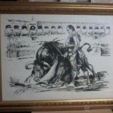 Arte: CURRO ROMERO. POR LOPEZ CANITO. 72X52 SIN MARCO.. Lote 48705452