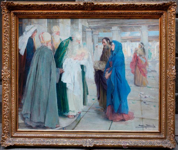 MAS I FONDEVILA (1852-1934) LA PRESENTACIÓN DE JESÚS, ÓLEO SOBRE TELA, MARCO: 116X98 CM. (Arte - Pintura - Pintura al Óleo Moderna sin fecha definida)