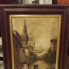 Arte: CUADRO AL ÓLEO SOBRE TABLA, VISTA DE SEVILLA. FIRMA ILEGIBLE.. Lote 48742505