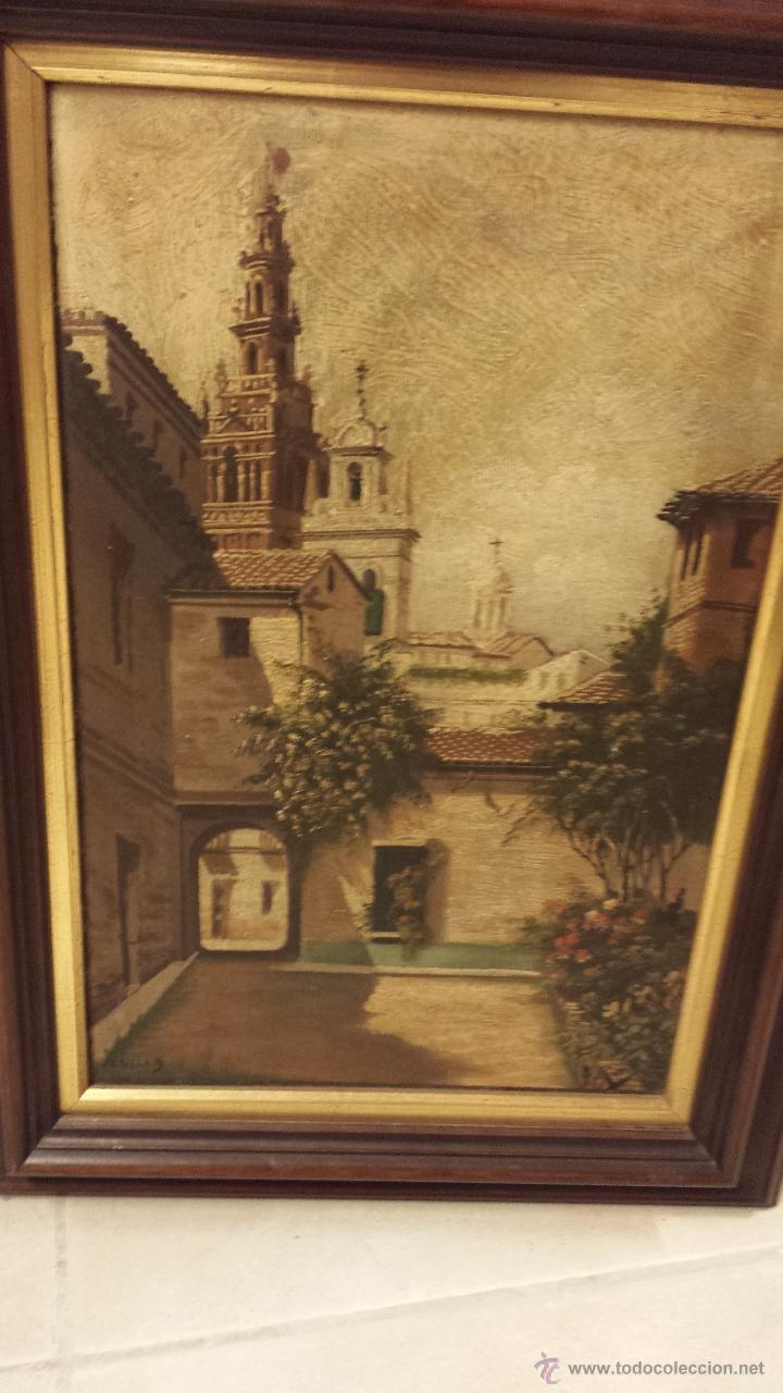Arte: CUADRO AL ÓLEO SOBRE TABLA, VISTA DE SEVILLA. FIRMA ILEGIBLE. - Foto 2 - 48742505