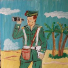 Arte: TENIENTE DE LA LEGIÓN ESPAÑOLA 30X24 CM.ÓLEO TABLA AUTOR CRESPO . Lote 48762189