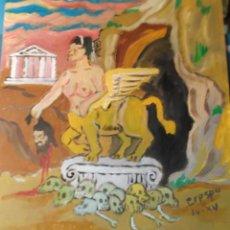 Arte: LA ESFINGE, ACRÍLICO SOBRE TABLA ,50X45 CM. DE CRESPO. Lote 48877541