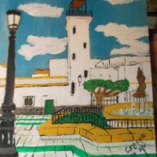 Arte: EL PARADOR (ALMERÍA)ACRÍLICO SOBRE TABLA DE 50X45 CM. DE CRESPO. Lote 48877653
