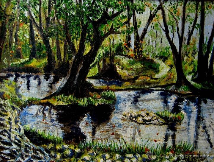 PAISAJE BOSCOSO- OLEOSOBRE LIENZO FIRMADO J. ESTELLÉS (Arte - Pintura - Pintura al Óleo Contemporánea )