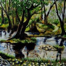 Arte: PAISAJE BOSCOSO- OLEOSOBRE LIENZO FIRMADO J. ESTELLÉS. Lote 46144196