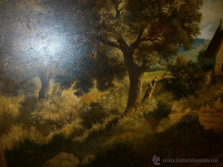 Arte: Paisaje con casa oleo sobre lienzo grande enmarcado 132 x 93 cm. buena pintura firmado Luque - Foto 2 - 48949156