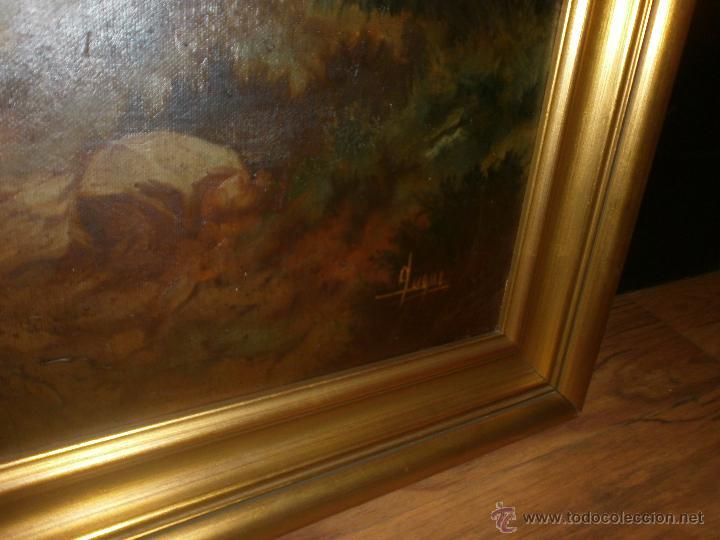 Arte: Paisaje con casa oleo sobre lienzo grande enmarcado 132 x 93 cm. buena pintura firmado Luque - Foto 3 - 48949156