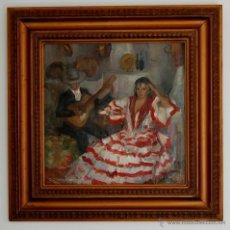 Arte: PRECIOSA PINTURA DE UNA GITANA EN UN TABLAO FLAMENCO - FINALES S-XIX O PPIOS. S-XX. Lote 48993286