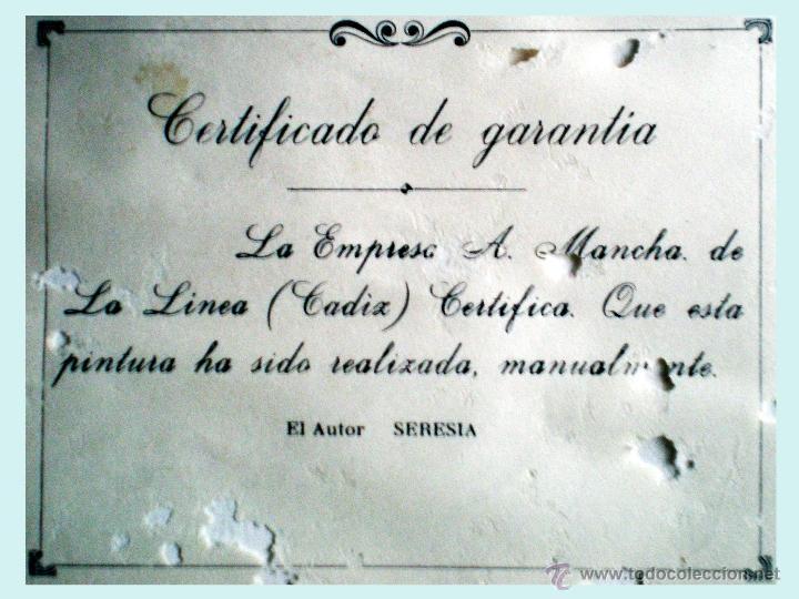 Arte: SERESIA.- PINTURA DE TECNICA MIXTA Y MANUAL SOBRE CARTULINA - LIRIOS ROJOS - FIRMADO. 50 X 40 cm. - Foto 3 - 49033168