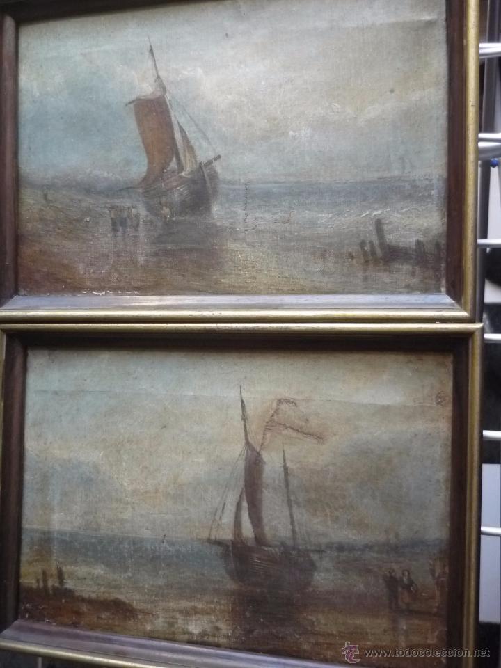 PAREJA DE MARINAS S XIX (Arte - Pintura - Pintura al Óleo Moderna siglo XIX)