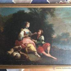 Arte: ESCUELA FRANCESA .SIGLO XVIII . ESCENA PASTORIL . 81 X 60 CM. Lote 49065541