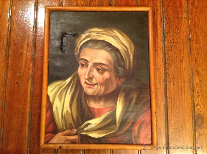 CUADRO OLEO SOBRE LIENZO RETRATO (Arte - Pintura - Pintura al Óleo Antigua siglo XVIII)