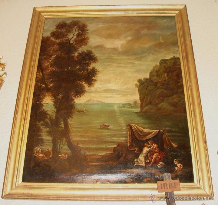 Arte: Magnifica Pareja de Cuadros Romanticos. Oleo sobre Lienzo. S.XIX. Gran Tamaño - Foto 2 - 49129506