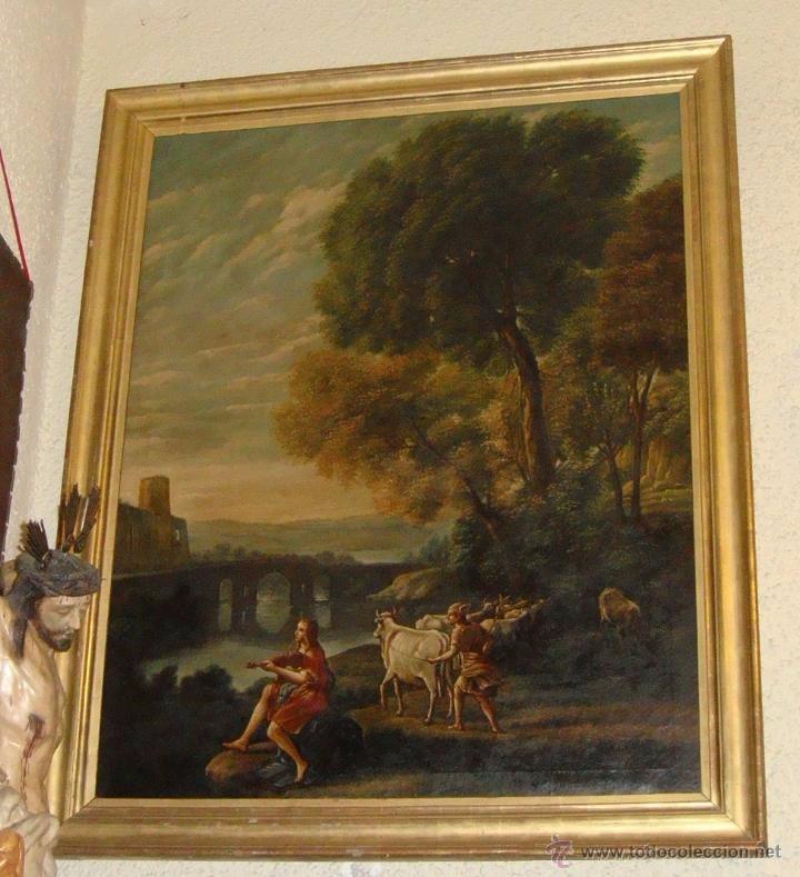 Arte: Magnifica Pareja de Cuadros Romanticos. Oleo sobre Lienzo. S.XIX. Gran Tamaño - Foto 3 - 49129506
