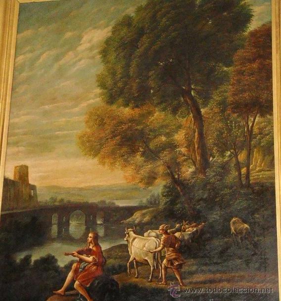 Arte: Magnifica Pareja de Cuadros Romanticos. Oleo sobre Lienzo. S.XIX. Gran Tamaño - Foto 4 - 49129506