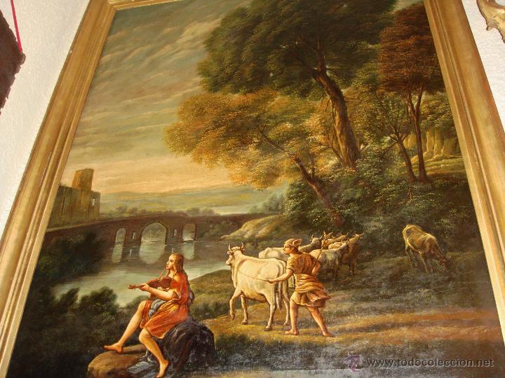 Arte: Magnifica Pareja de Cuadros Romanticos. Oleo sobre Lienzo. S.XIX. Gran Tamaño - Foto 5 - 49129506