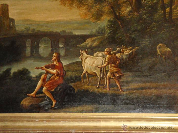 Arte: Magnifica Pareja de Cuadros Romanticos. Oleo sobre Lienzo. S.XIX. Gran Tamaño - Foto 6 - 49129506