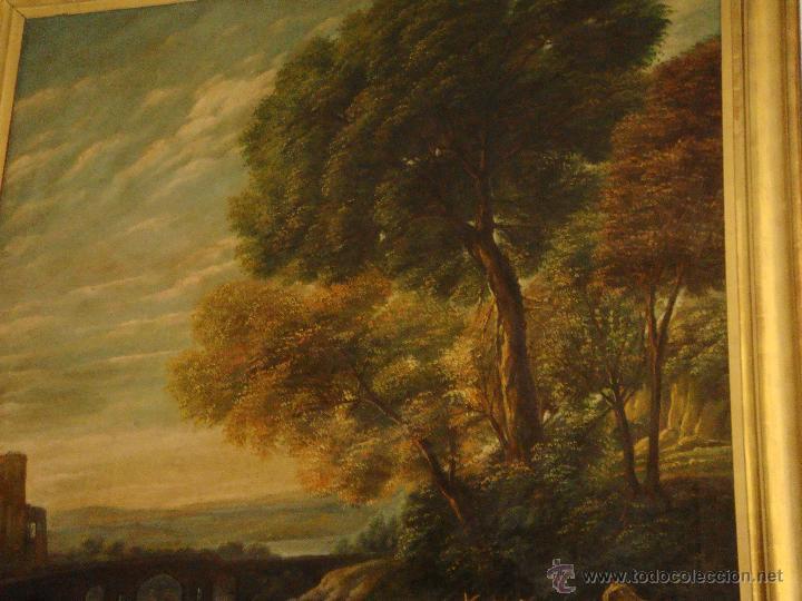 Arte: Magnifica Pareja de Cuadros Romanticos. Oleo sobre Lienzo. S.XIX. Gran Tamaño - Foto 7 - 49129506
