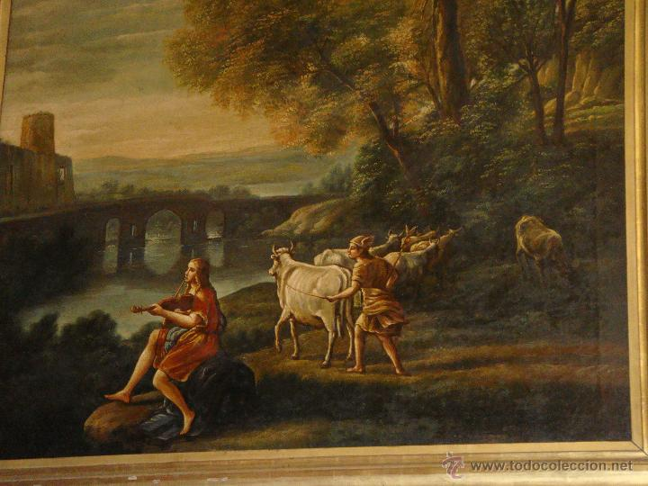Arte: Magnifica Pareja de Cuadros Romanticos. Oleo sobre Lienzo. S.XIX. Gran Tamaño - Foto 8 - 49129506