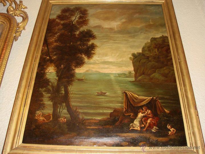 Arte: Magnifica Pareja de Cuadros Romanticos. Oleo sobre Lienzo. S.XIX. Gran Tamaño - Foto 10 - 49129506