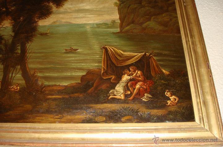 Arte: Magnifica Pareja de Cuadros Romanticos. Oleo sobre Lienzo. S.XIX. Gran Tamaño - Foto 11 - 49129506
