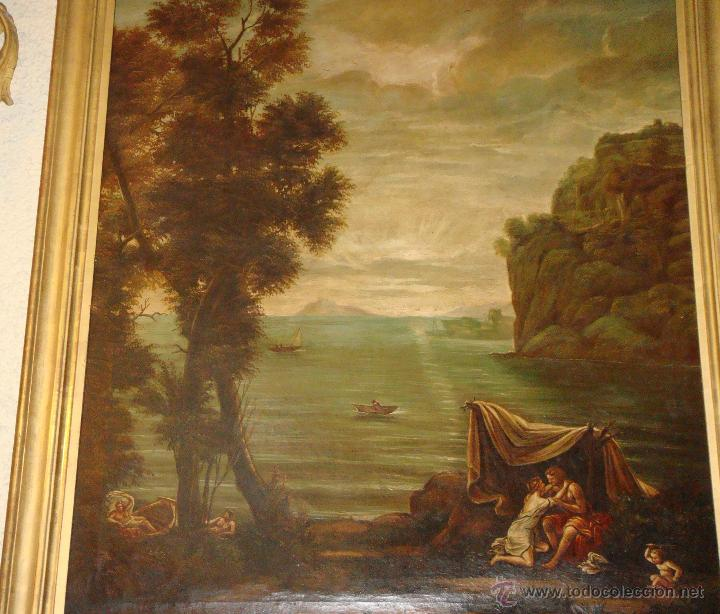 Arte: Magnifica Pareja de Cuadros Romanticos. Oleo sobre Lienzo. S.XIX. Gran Tamaño - Foto 12 - 49129506